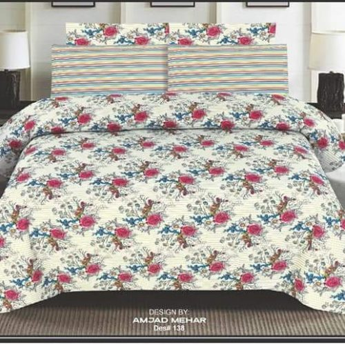 Cotton Sheet With 2 Pillow Covers – 3 Pcs