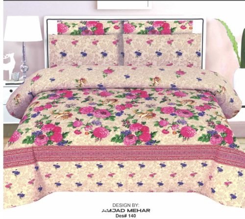 Multi-Color Lining Cotton Double Bed sheet