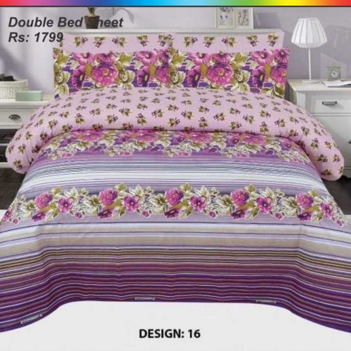 Purple & Yellow Cotton sheet Set With 2 Pillow Covers