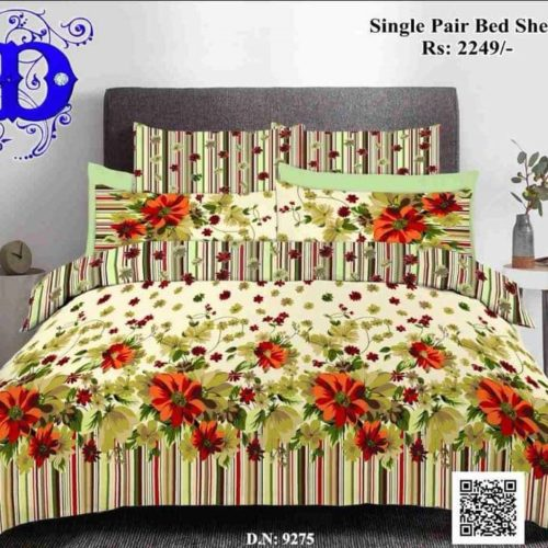 Red & Yellow 3D Cotton Bed Sheets
