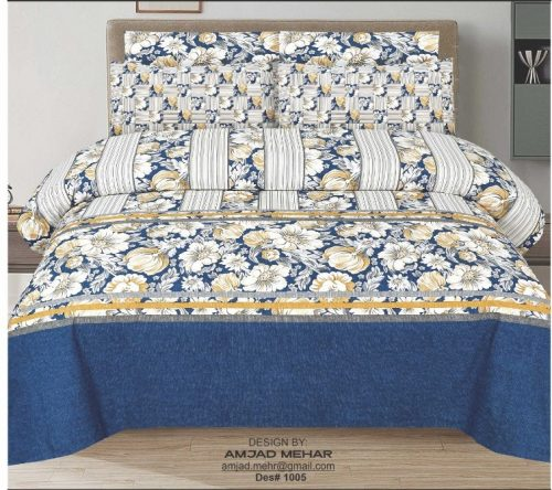 Blue and Yellow Printed Cotton Sheet With 2 Pillow Covers