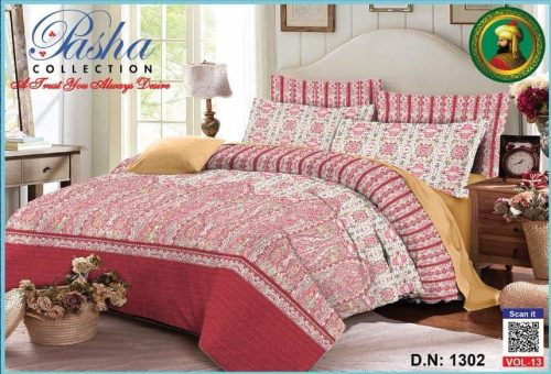 Pink and White Printed 3D Cotton Bed Sheet