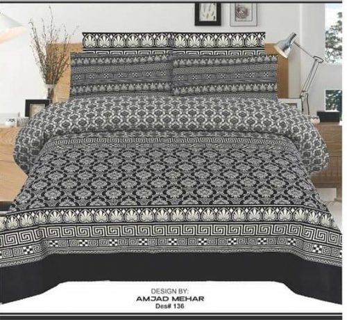 Pattern Black Contrast Sheet with 2 Pillow Covers