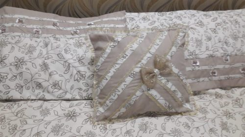 Brown Off white Sheet Pillows & Cushions