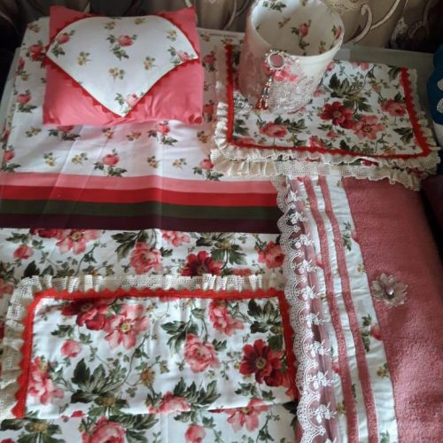 Pink White Flowers Sheet Pillows Basket & Cushion