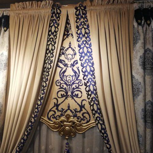 Brown Blue Curtains