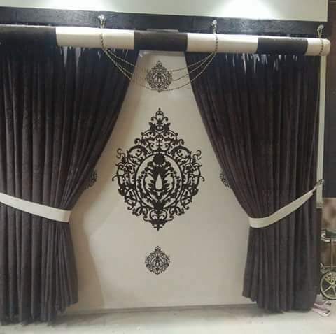 Brown Off white Curtains