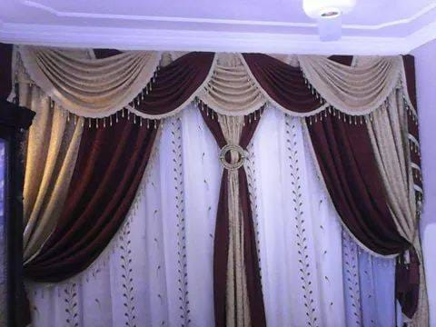 Brown and Golden Curtains for Wedding Hall
