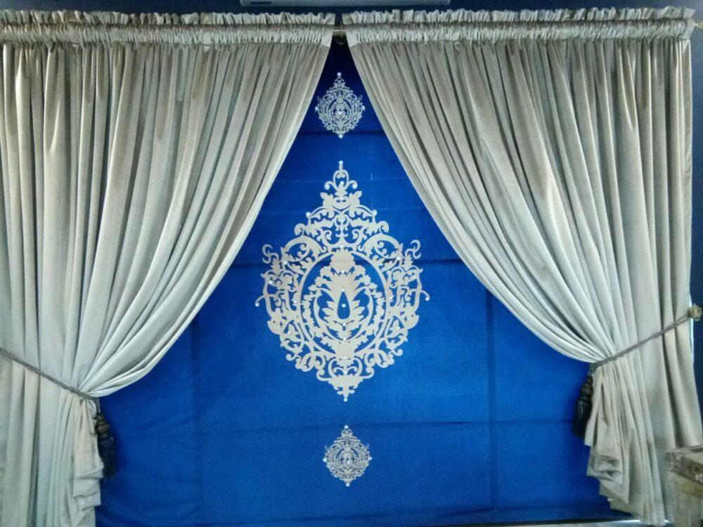 Golden & Blue Background Curtains