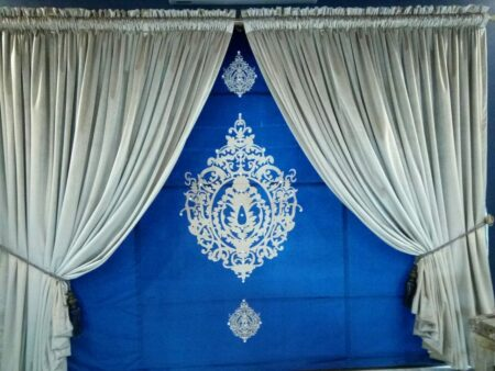 Golden & Blue Background Curtains