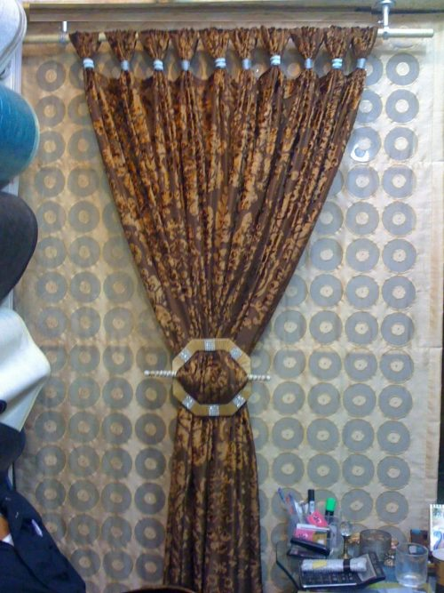 Golden Brown Shiny Curtains Sets