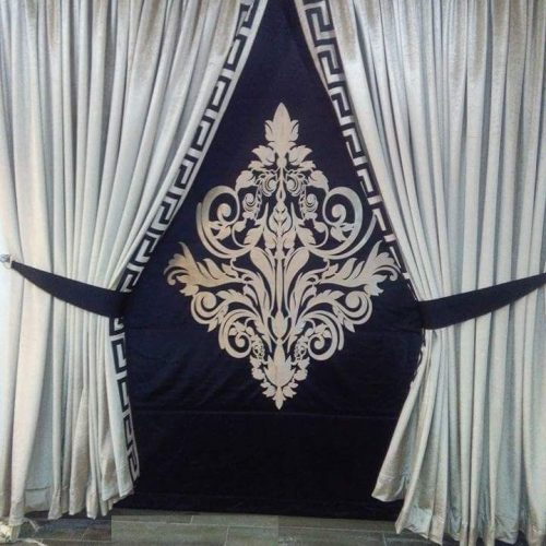 Goldish and Dark Blue Curtains