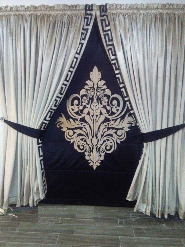 Goldish and Dark Blue Curtains