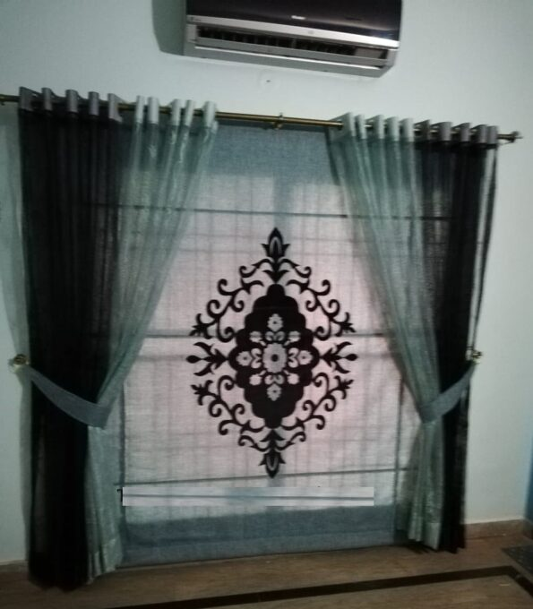 Grey & Black Net Curtains Set