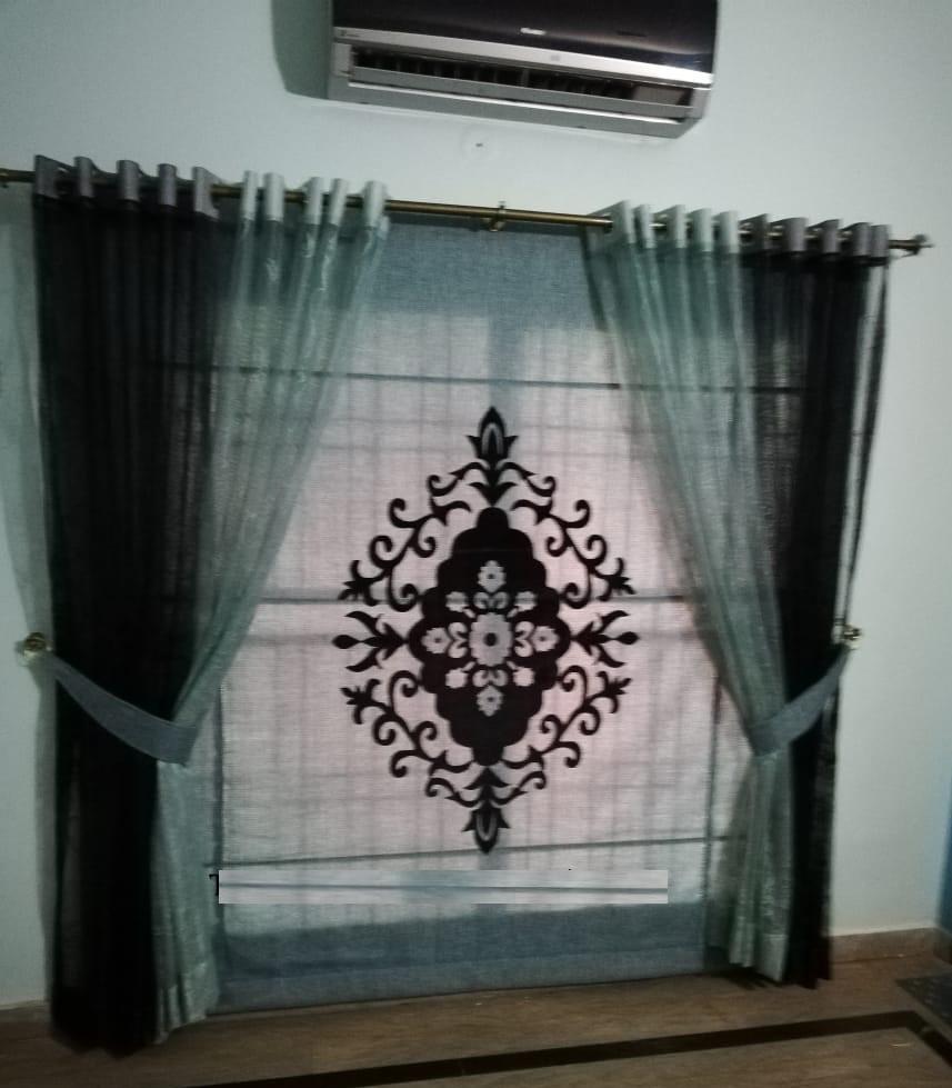 Grey & Black Net Curtains Set