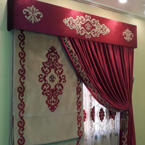 Red Golden Stylish Curtains