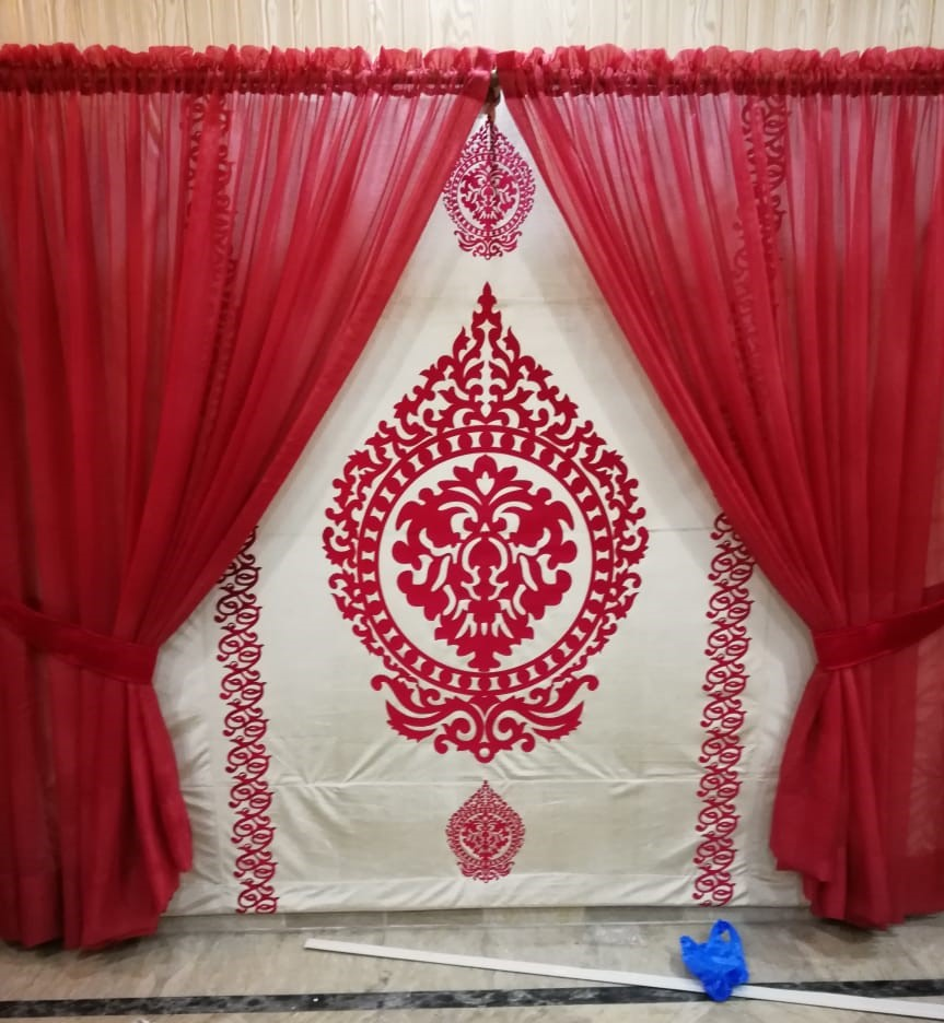 Red Net Curtains Set
