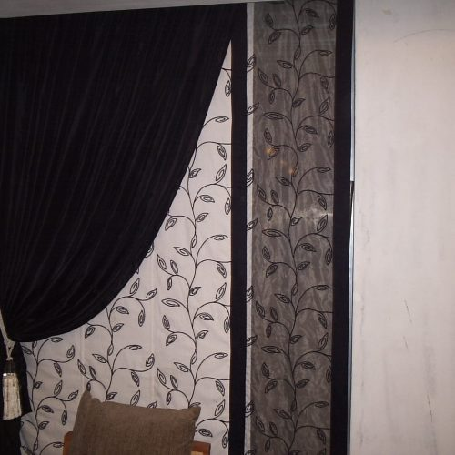 Stylish Black & White Parda for Window