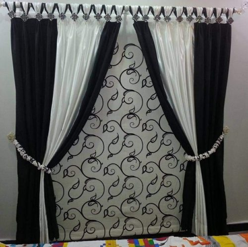 White Black Stylish Curtains