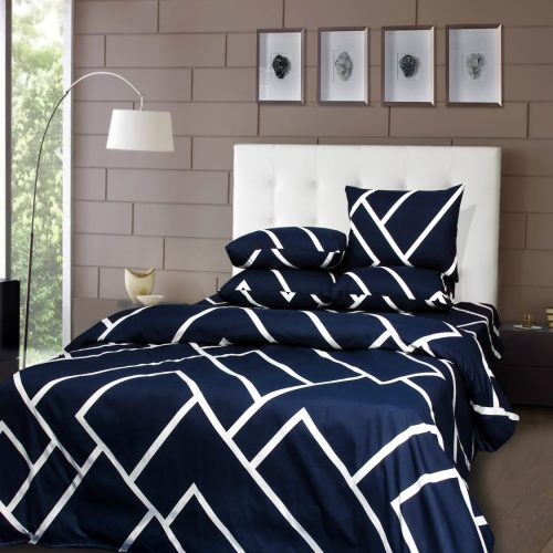 Blue White Lining Bedding with 2 Pillows