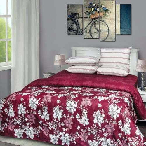 Dark Red Pinkish Quilt with 2 Pillows