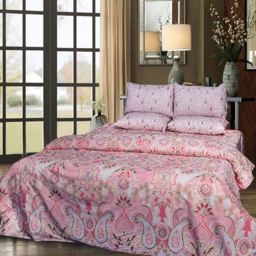 Pinkish Pattern Quilt with 2 Pillows