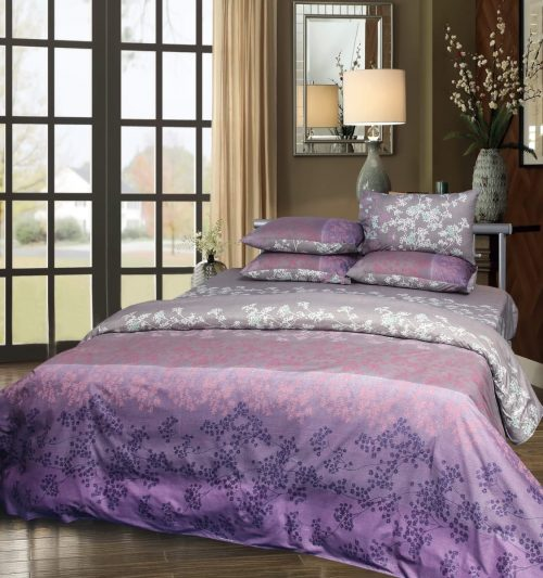 Purple White Bedding with 2 Pillows