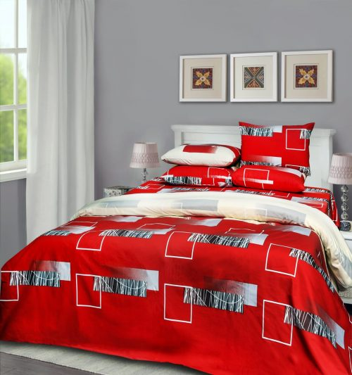 Red White Block Bedding with 2 Pillows