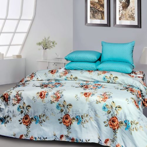 White & Ferozy Bedding with 2 Pillows