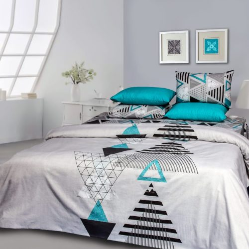 White Triangle Bedding with 2 Pillows