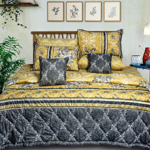 Yellow Black Bedding 8 PCS Set