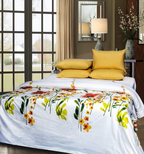 Yellow & White Background Bedding with 2 Pillows