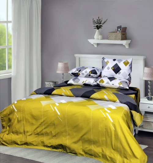 Yellow White Bedding with 2 Pillows