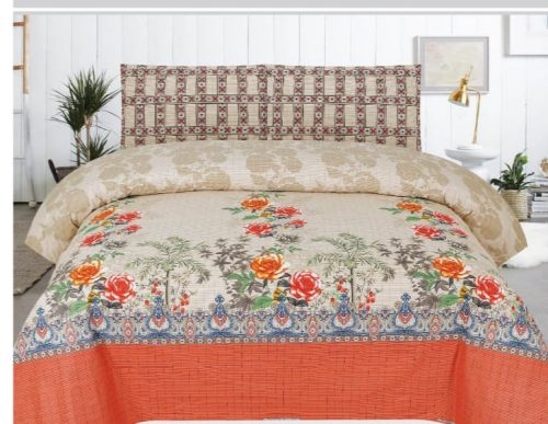 Orange Flower Printed Bed Sheets