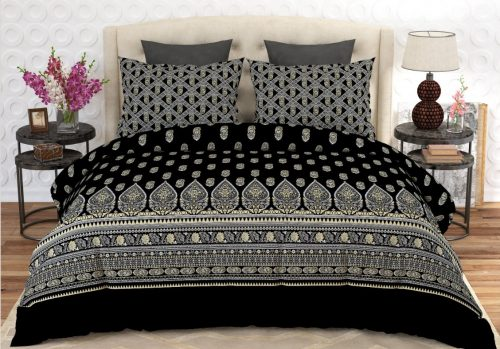 Black Grey Printed Bed Sheets