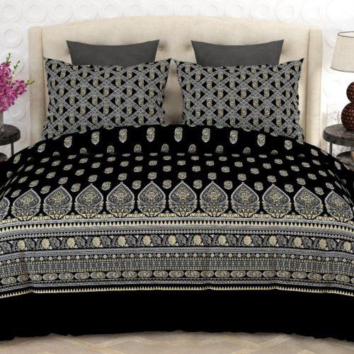 Black Grey Printed Bed Sheets