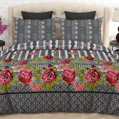 Black, White Printed Red Flowers Bed Sheets