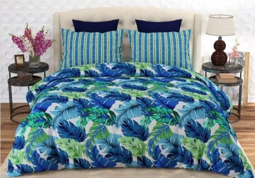 Blue Green Printed Bedding With 2 Pillows