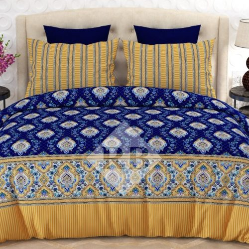 Blue Printed Yellow Border Bed Covers