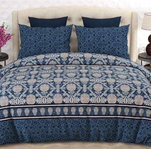 Bluish Bedding With 2 Pillows