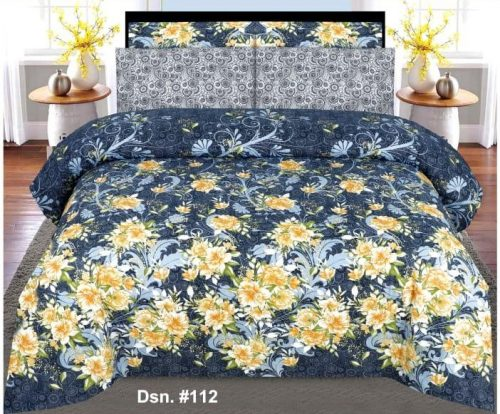 Bluish Printed Bed Sheets