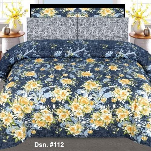 Bluish Printed Bed Sheets