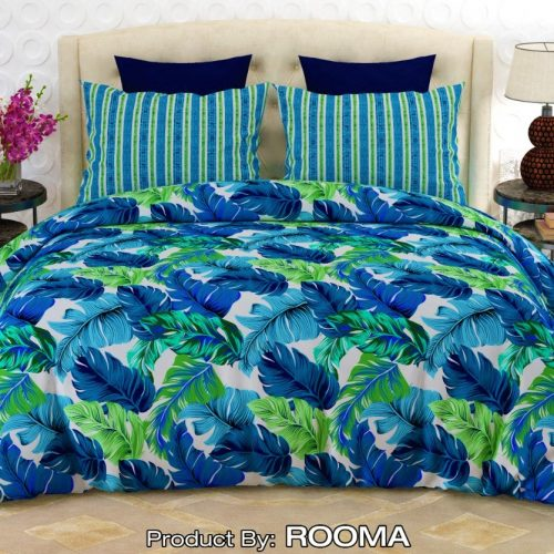 Dark Blue and Sky Blue Color Bed Sheet