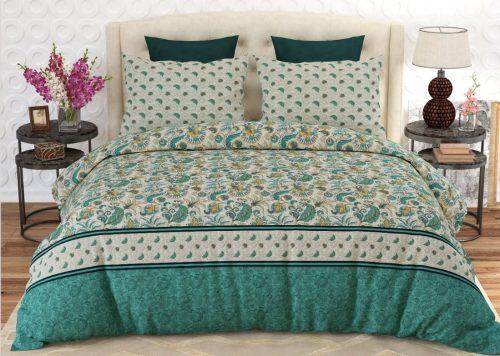 Green Yellow Black Printed Bed Sheets