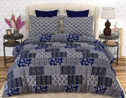 Grey and Blue Sheets with 2 Pillows