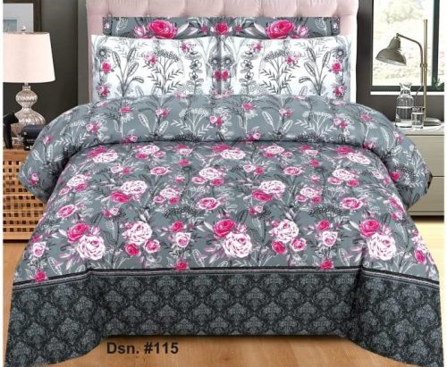 Grey and Red Rose Printed Sheets