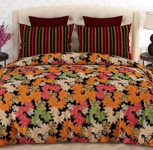 Orange Green Pink Printed Leaf Bedding Cover