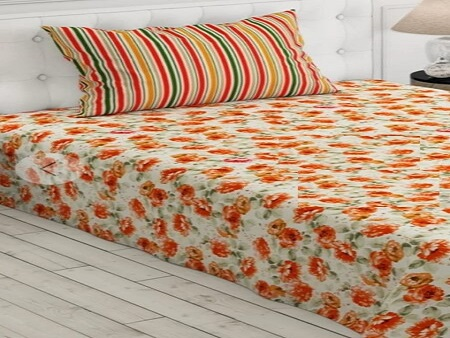 Orange-Printed-Bed-Sheet-With-2-Pillow-Covers-–-3-PCS-450×748