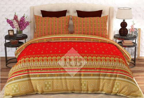 Orange Printed Yellow Border Bed Covers