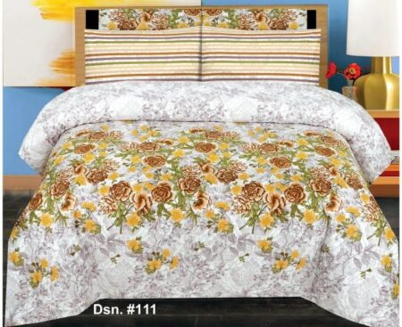 White Color With Yellow Flower Bed Sheet